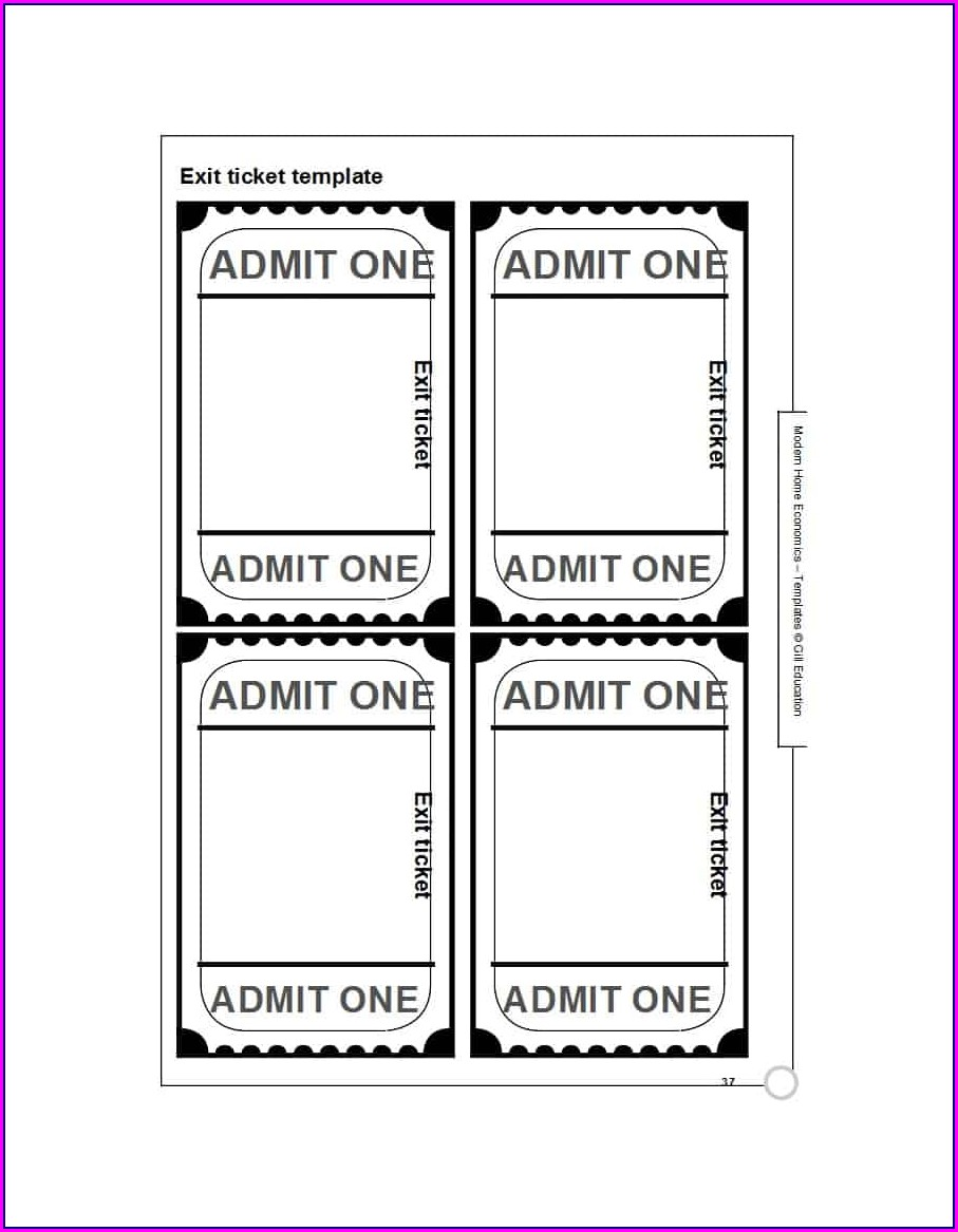 Entrance Ticket Template For Teachers