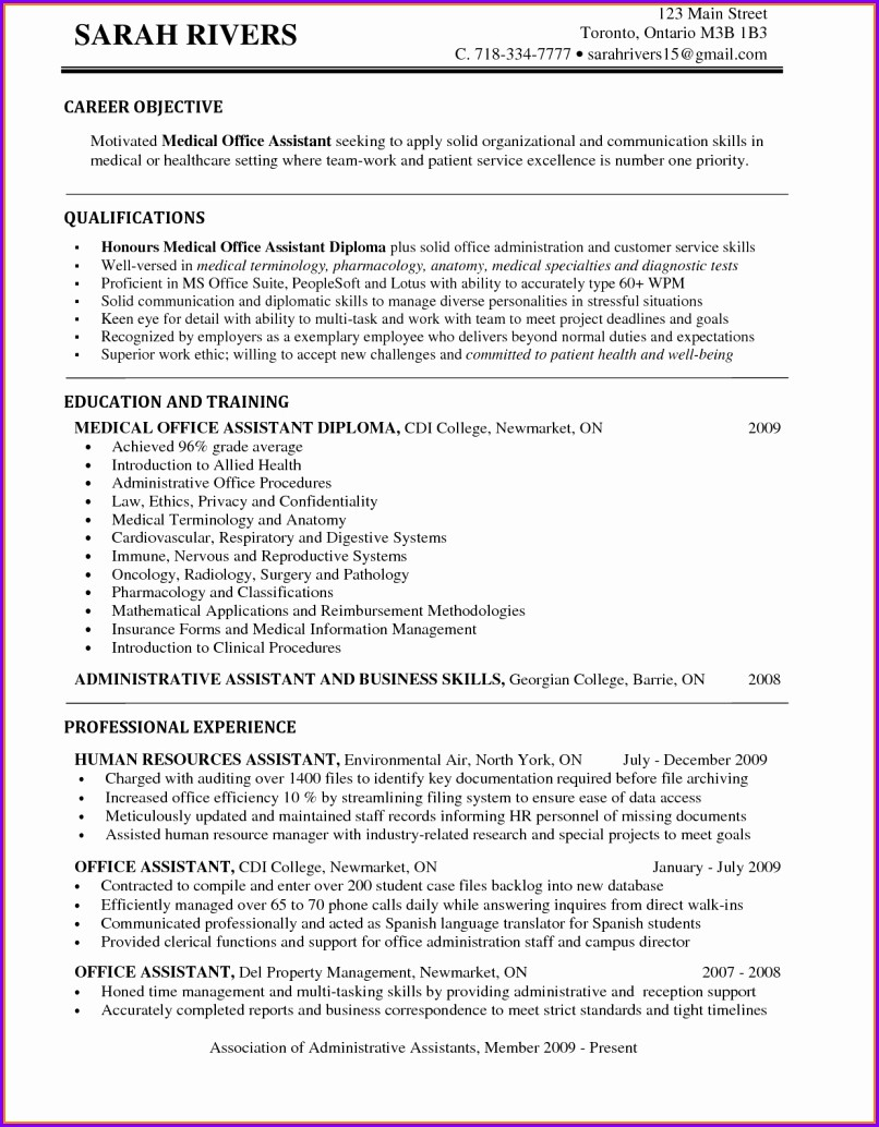 Entry Level Medical Assistant Resume Examples
