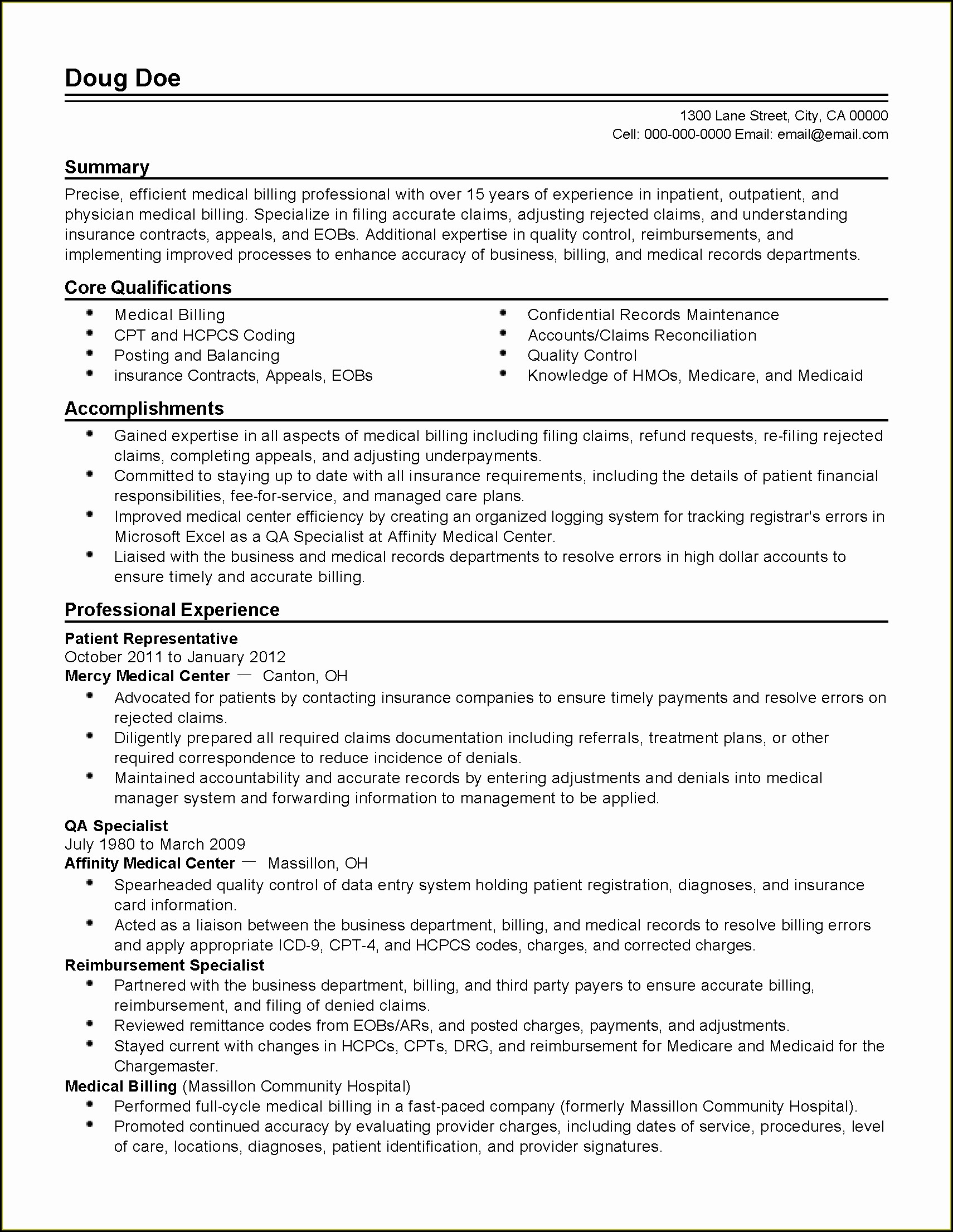 Entry Level Medical Coding Resume Examples