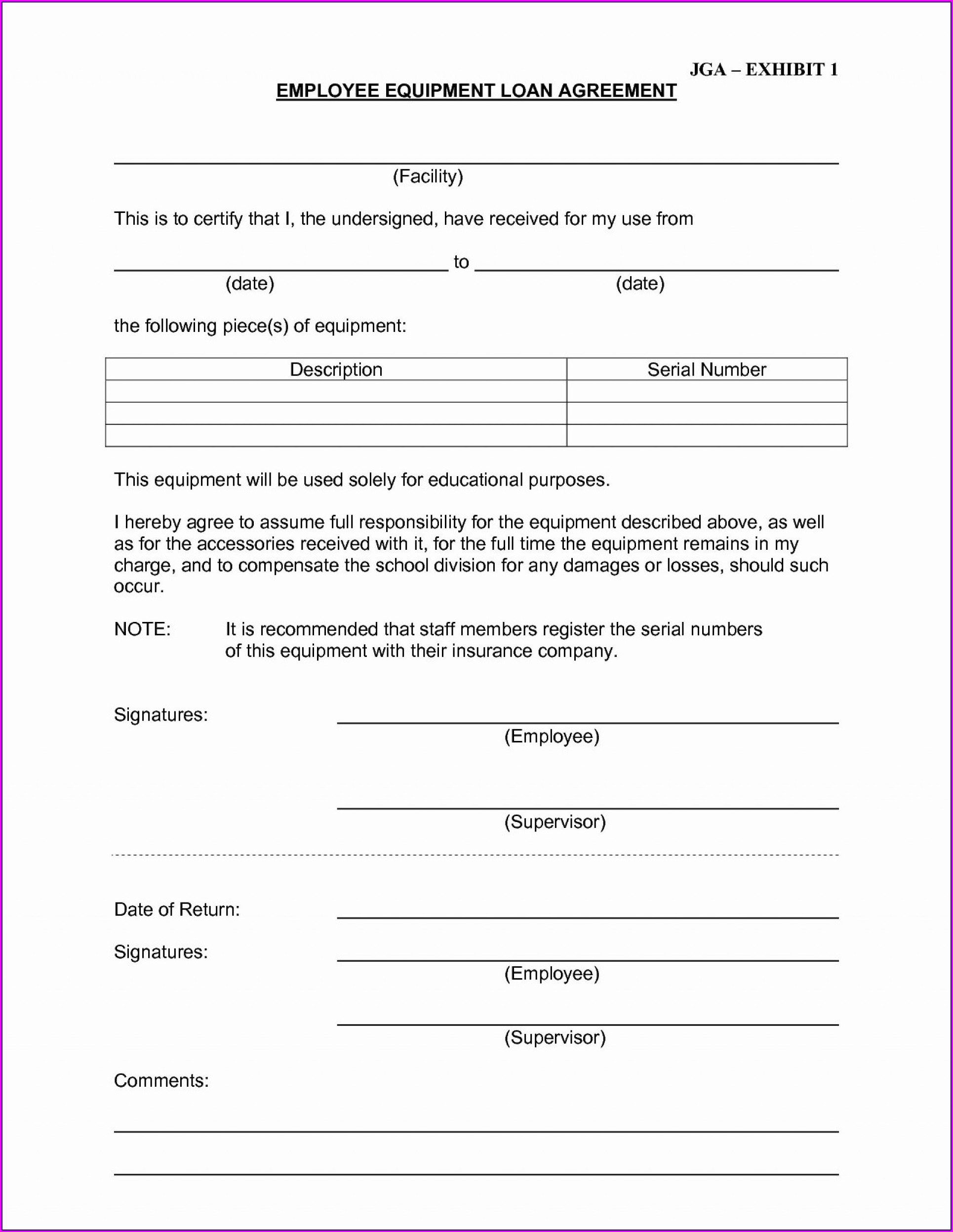 Equipment Loan Agreement Template Uk