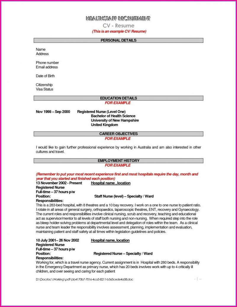 Er Nurse Resume Templates Free