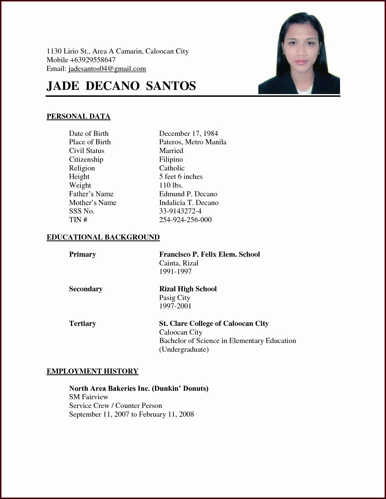 Example Of Basic Resume Format
