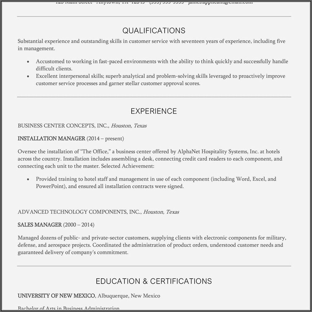 Example Of Objective For Customer Service Resume