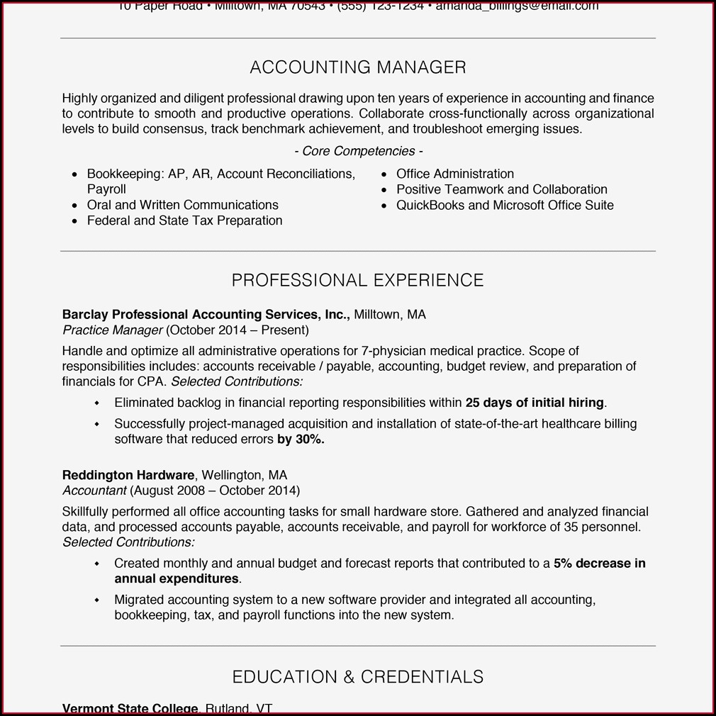 Example Of Professional Resumes