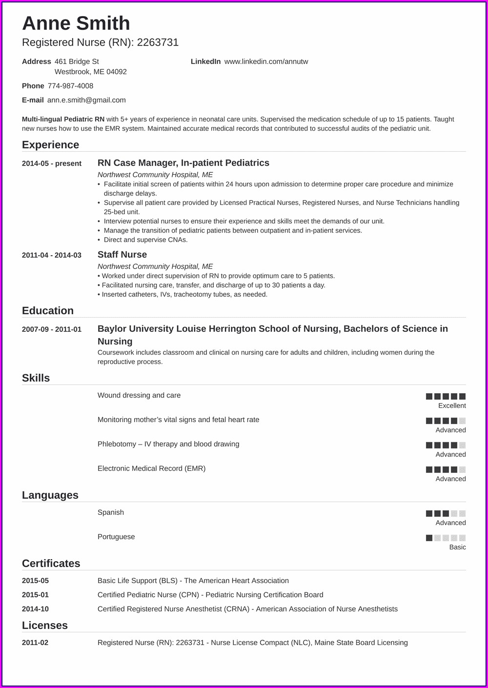 Example Of Registered Nurse Resume Australia