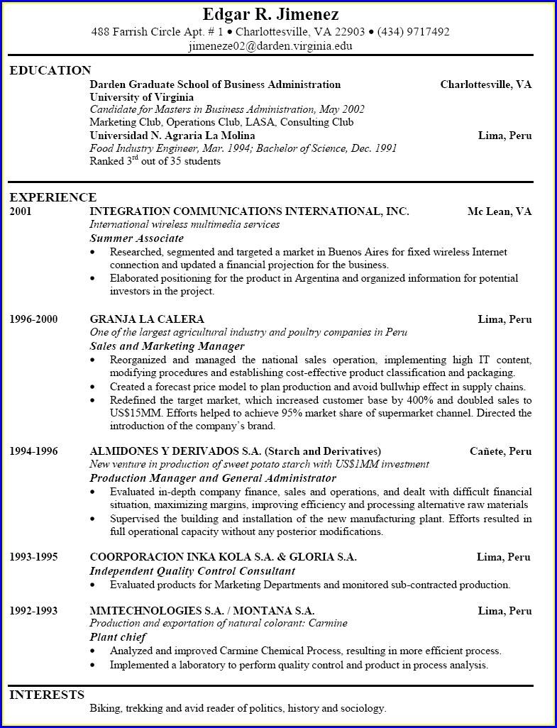 Examples Of Best Written Resumes