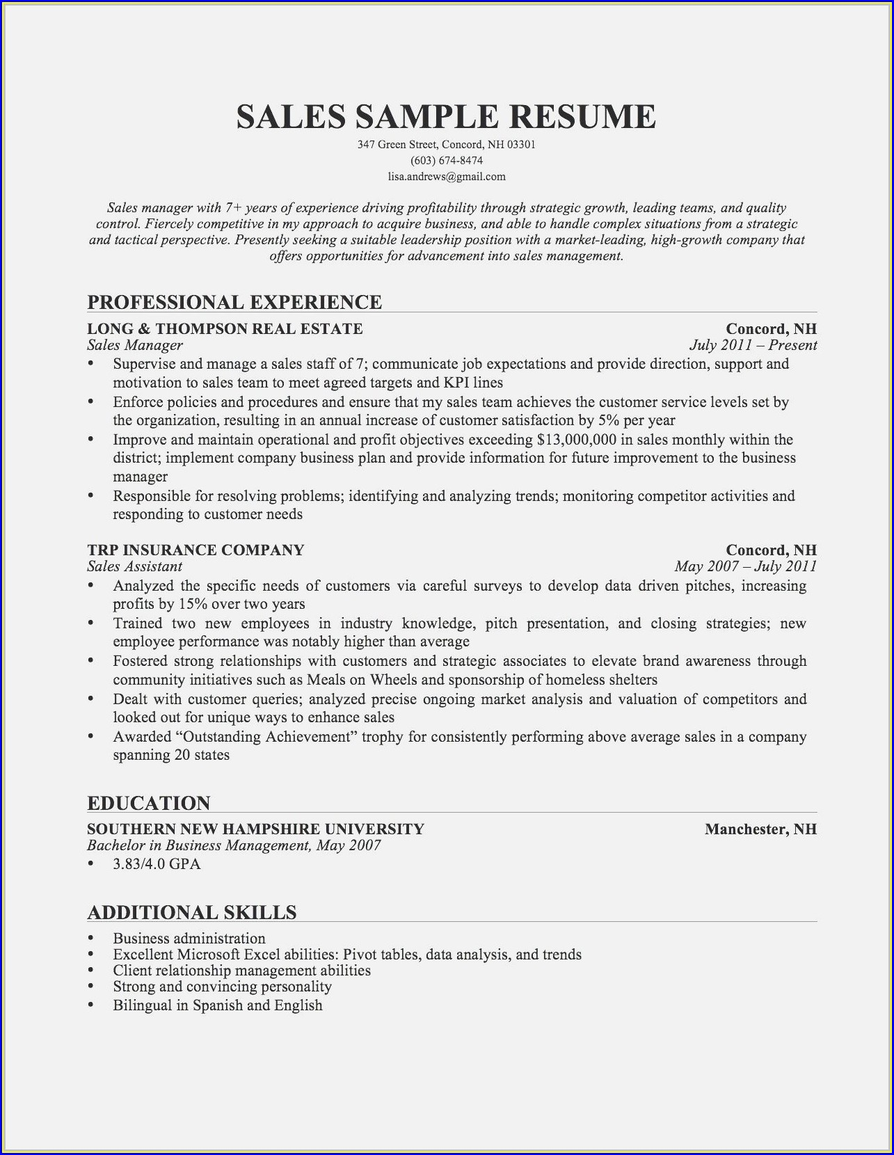 Examples Of Great Resume Objectives