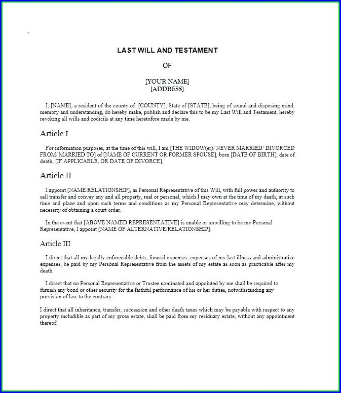 Examples Of Last Will And Testament Template