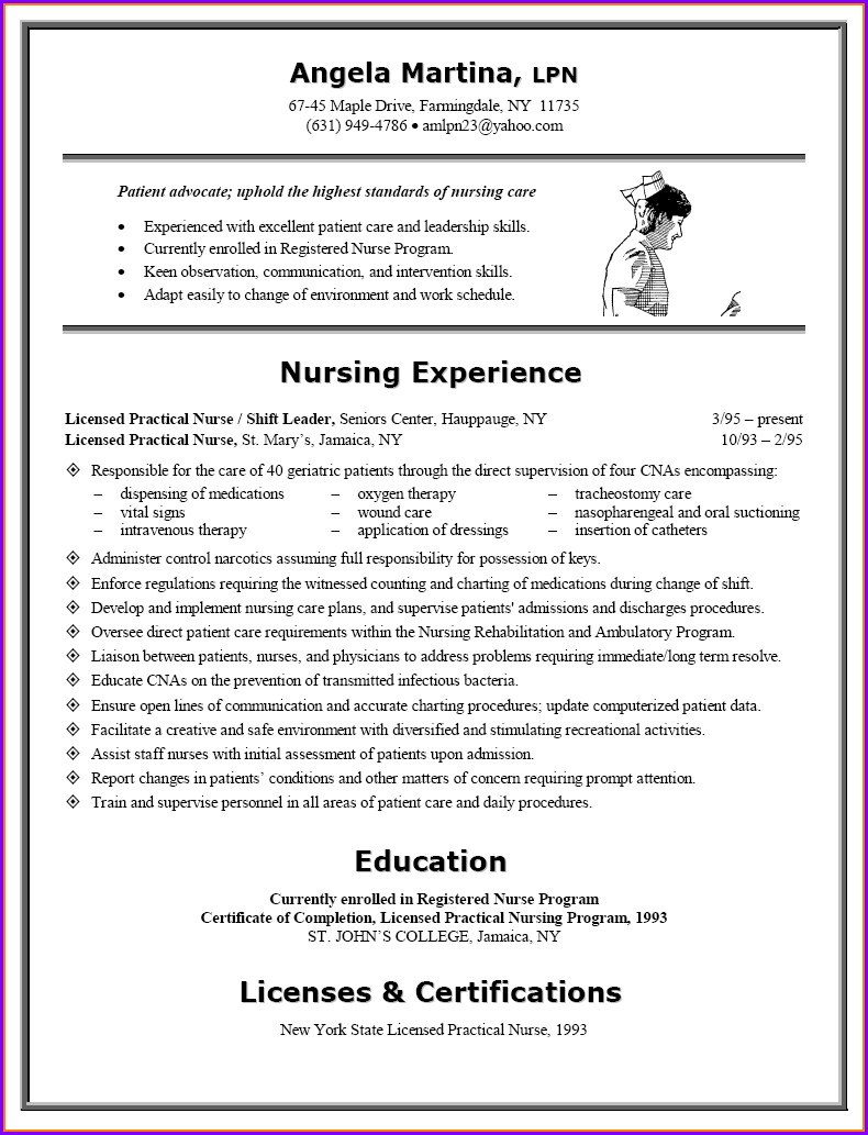 Examples Of Licensed Practical Nurse Resumes