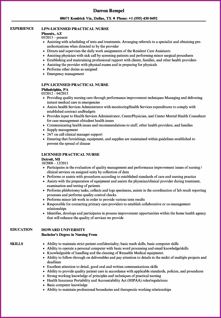 Examples Of Lpn Nursing Resumes