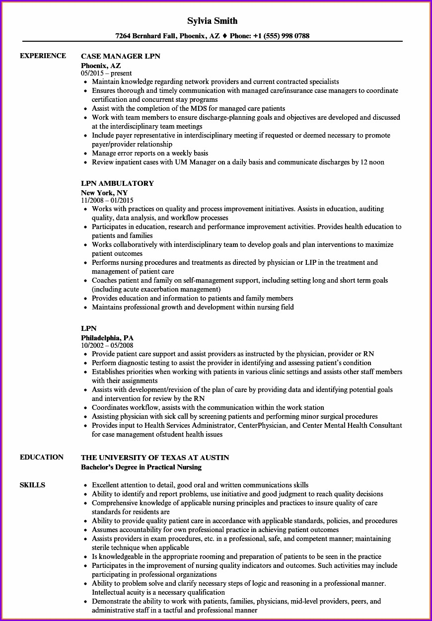 Examples Of New Lpn Resumes