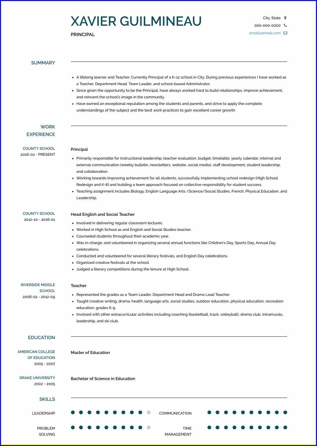 Examples Of Principal Resumes Templates