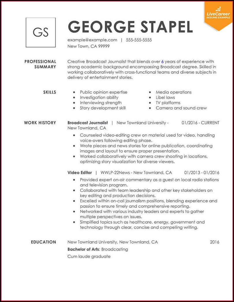 Examples Of Professional Resumes 2019