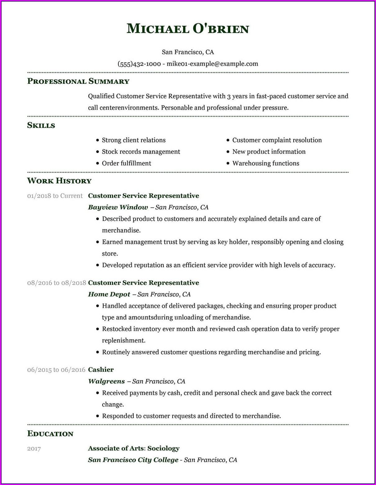 Examples Of Resumes For Customer Service Positions