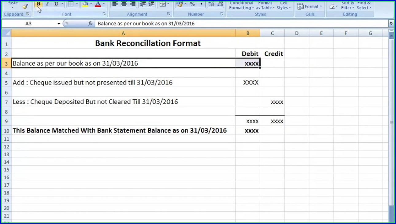 Excel Bank Statement Reconciliation Template