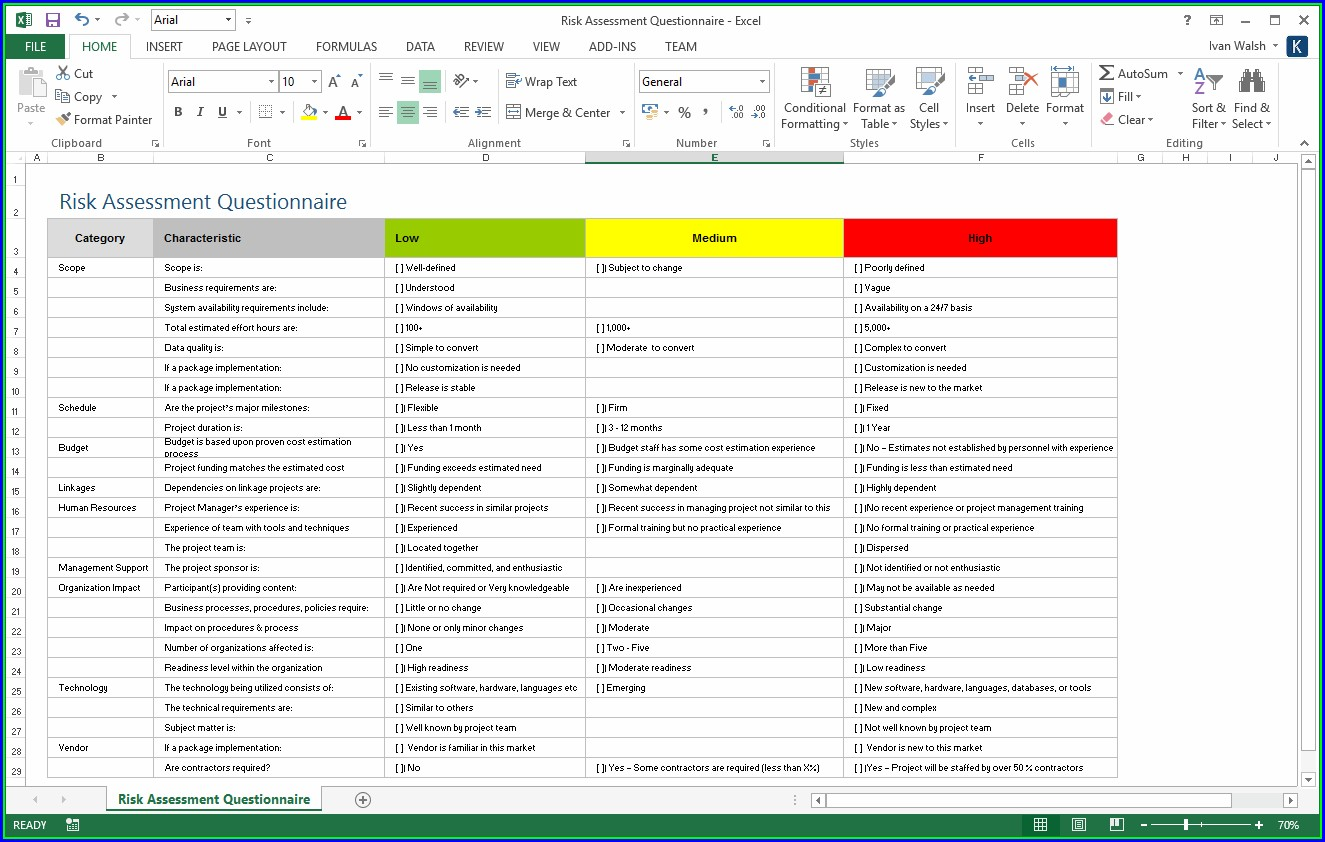 Excel Risk Management Plan Template