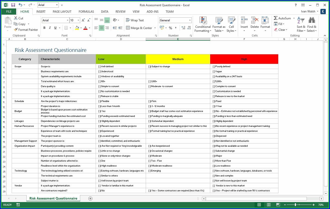 Excel Risk Management Plan Template