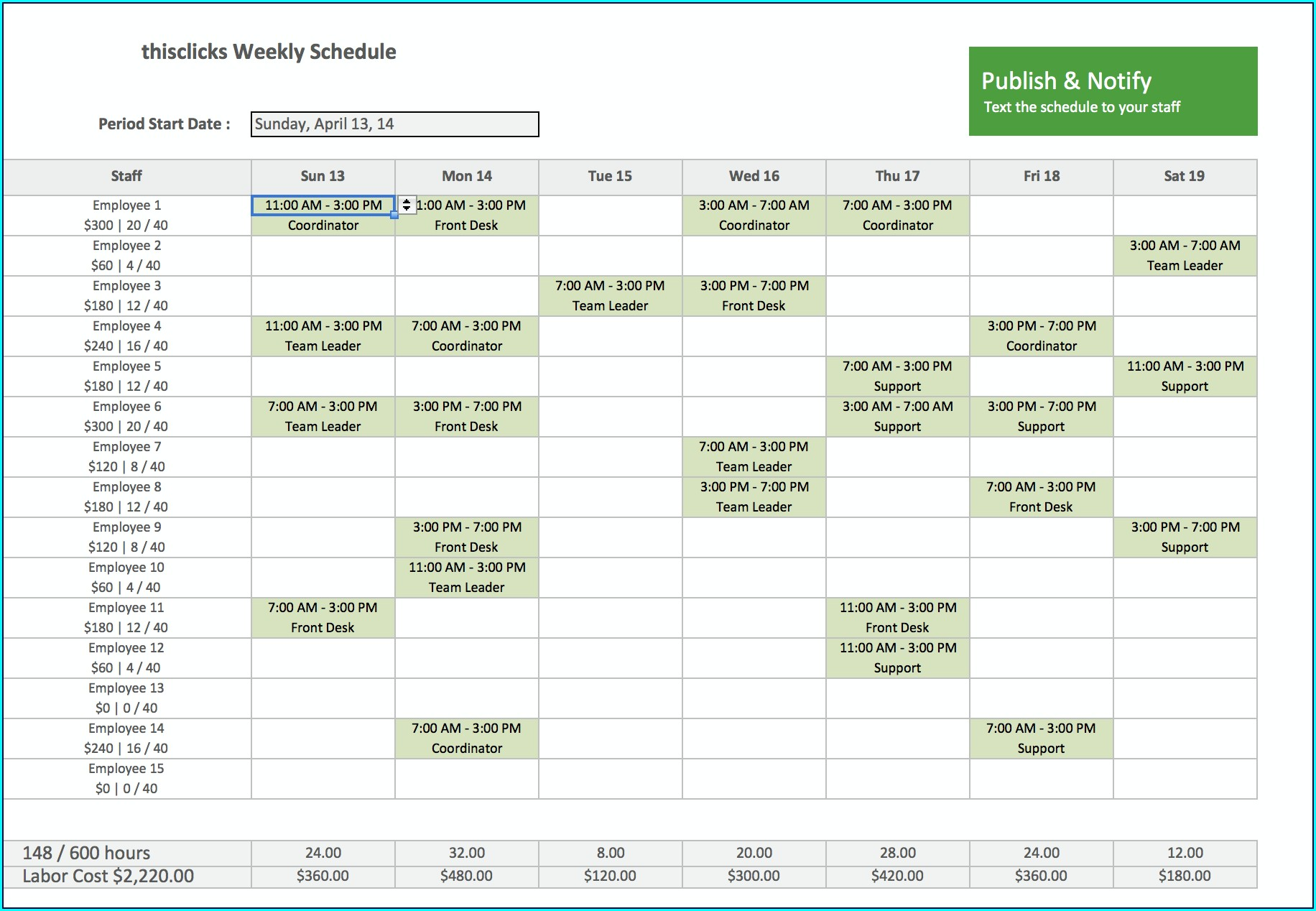 Excel Staff Schedule Template