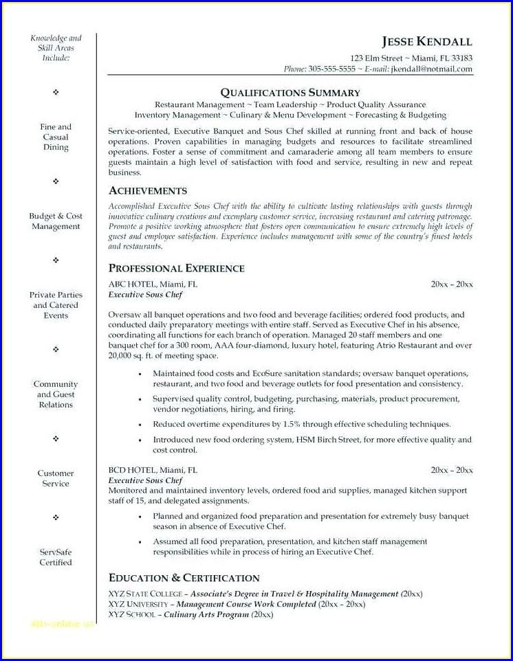 Executive Chef Cv Examples