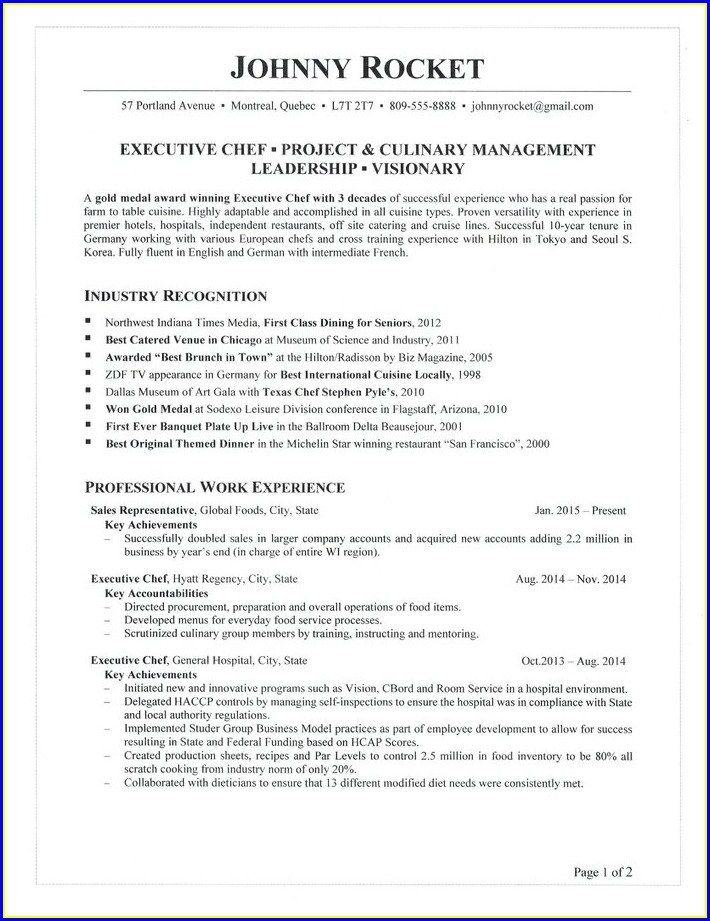 Executive Chef Resume Objective Samples