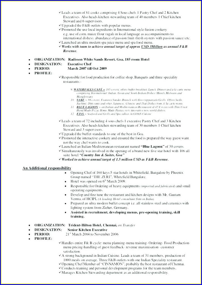 Executive Sous Chef Resume Example
