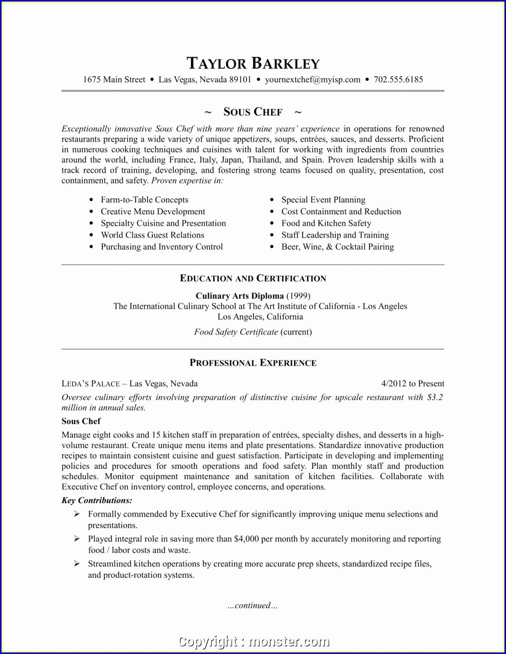 Executive Sous Chef Resume Sample