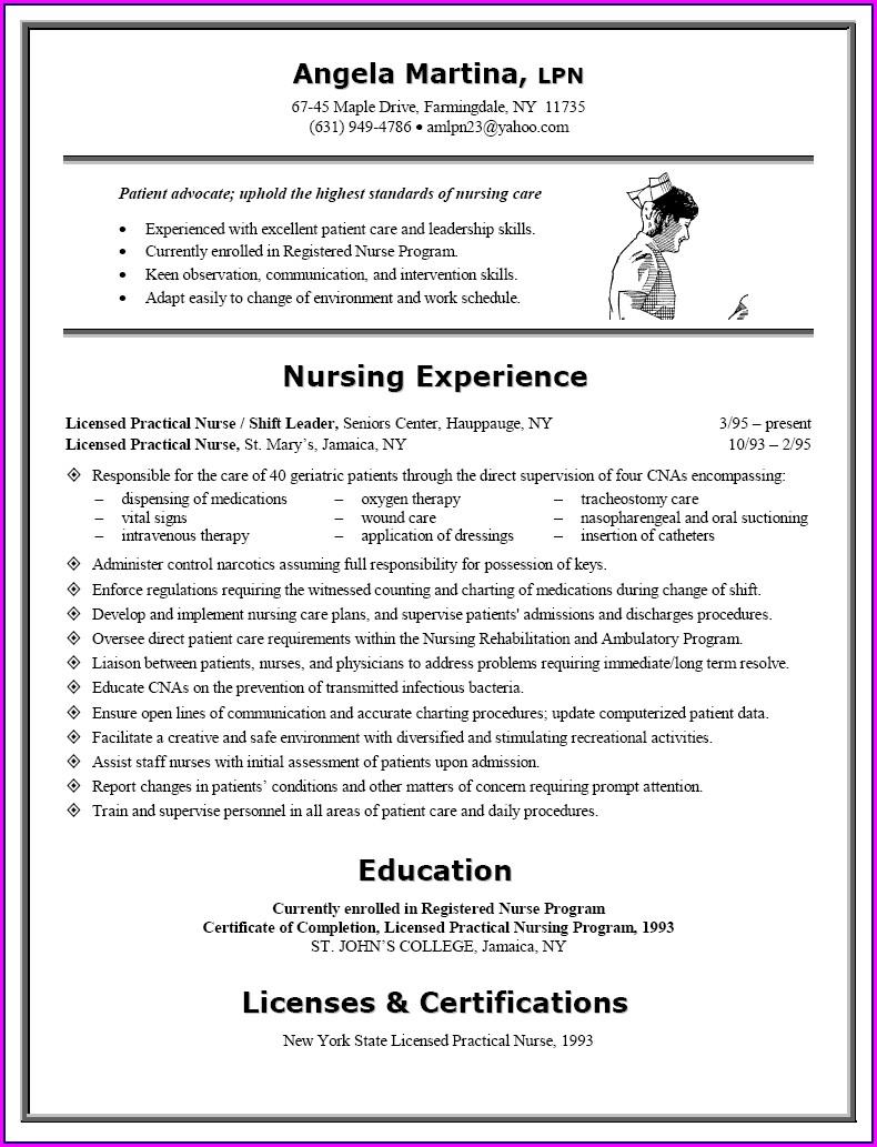 Experienced Licensed Practical Nurse Sample Resume