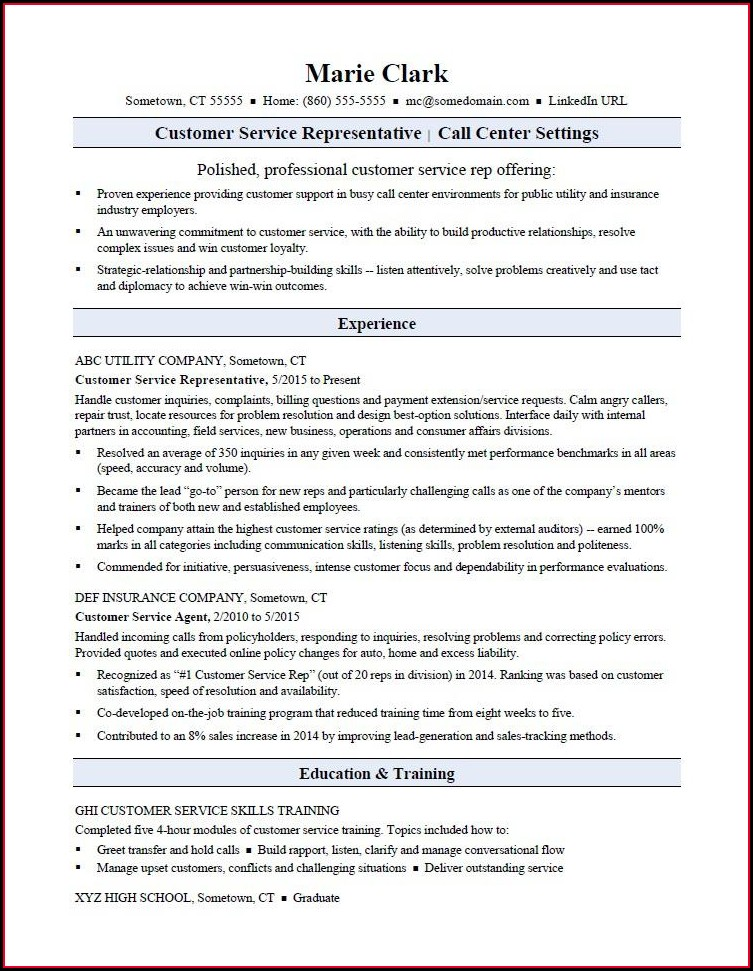 Experienced Sample Resume For Customer Service Representative