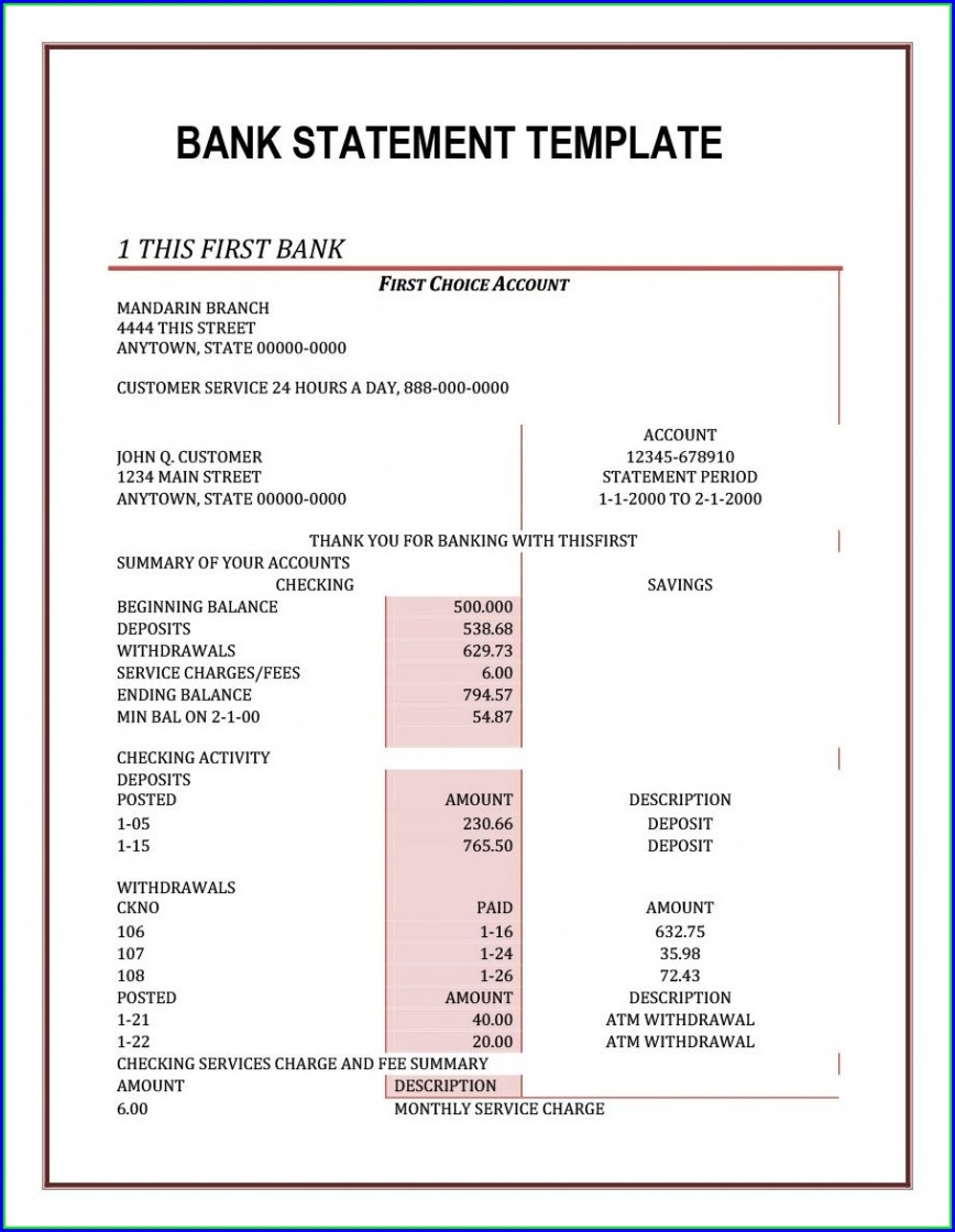 Fake Chase Bank Statement Template Free