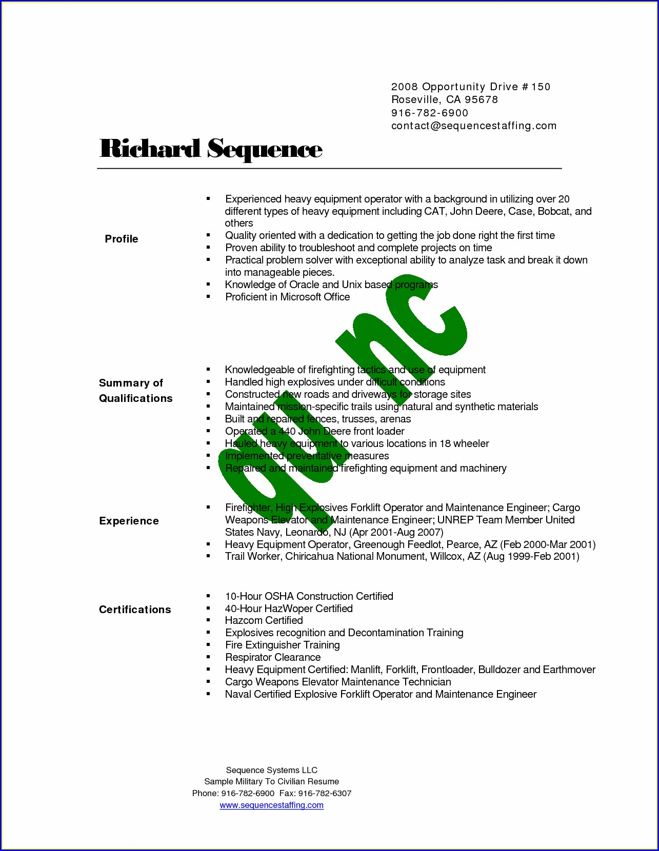 Federal Resume Writing For Veterans