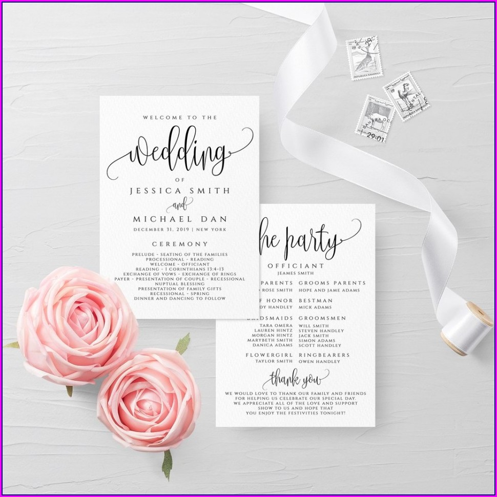 Filipino Catholic Wedding Ceremony Program Template