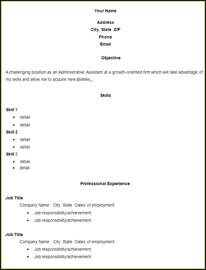 Fill In Blank Blank Resume Format Pdf Free Download