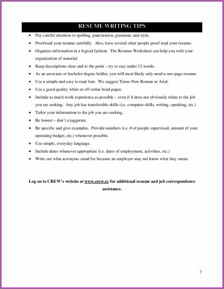 Fill In Blank Printable Resume Worksheet