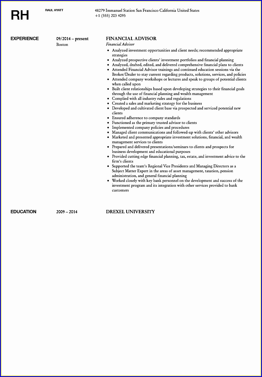 Financial Advisor Resume Samples