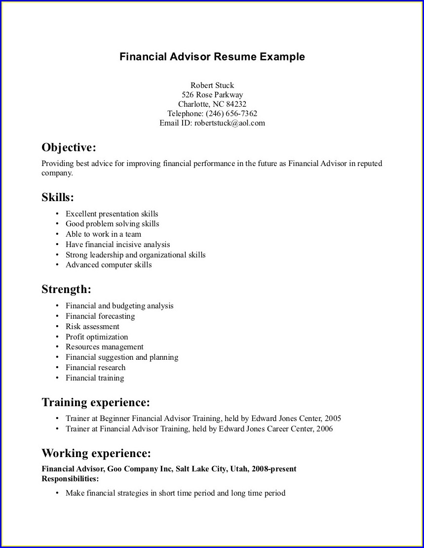 Financial Advisor Trainee Resume Sample