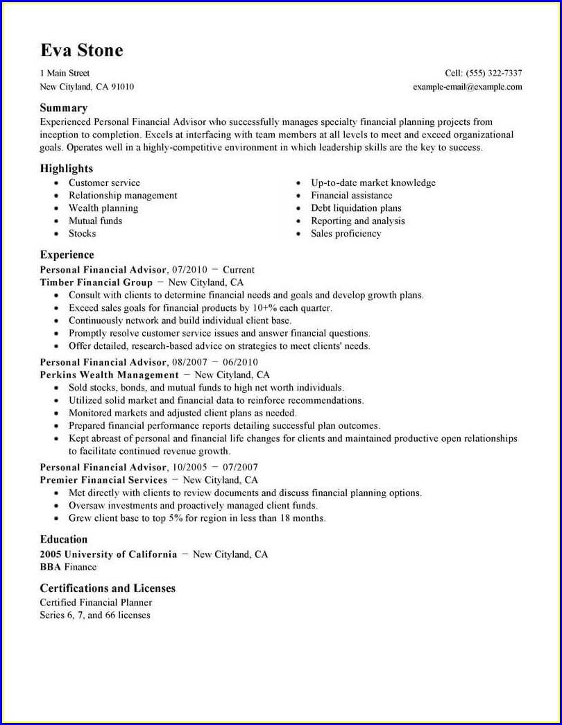 Financial Planner Cv Template