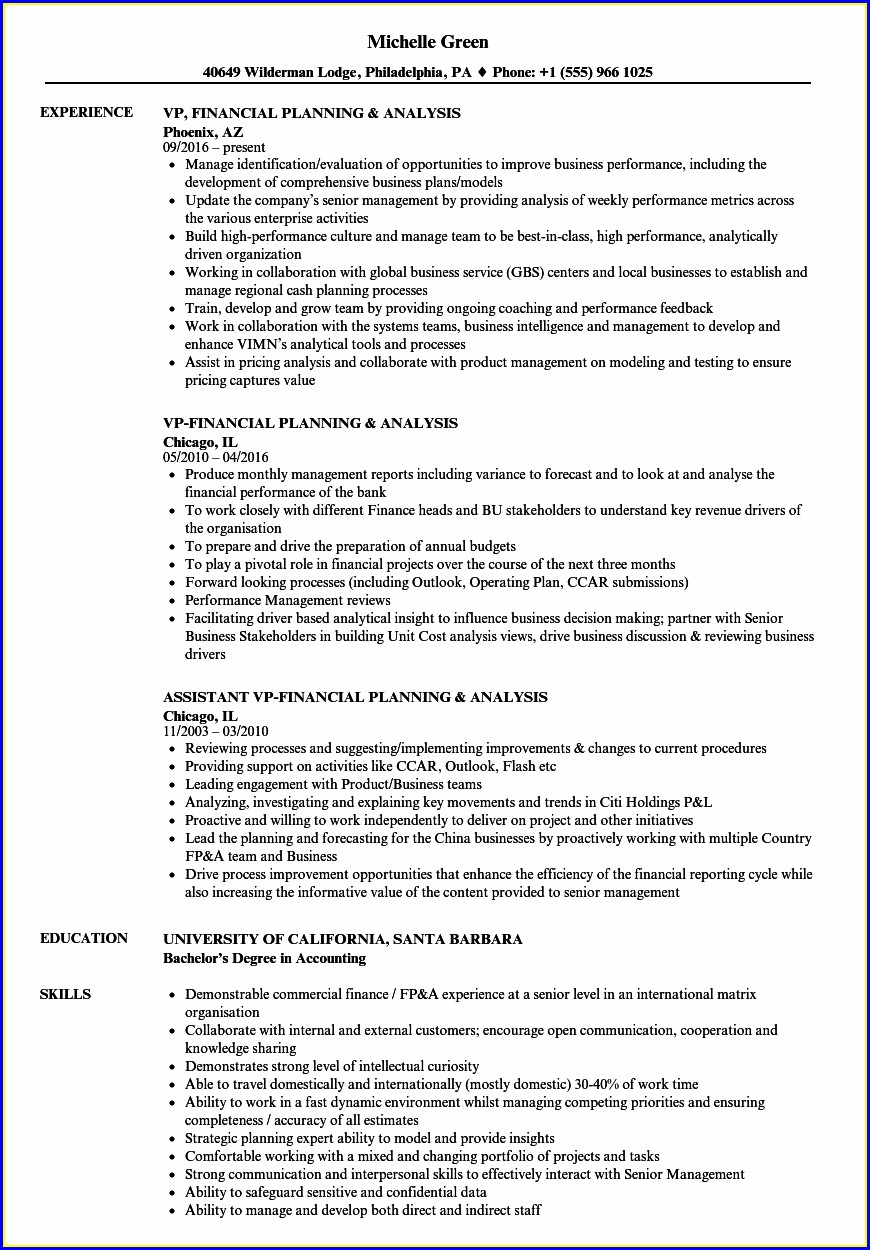 Financial Planning Resume Samples