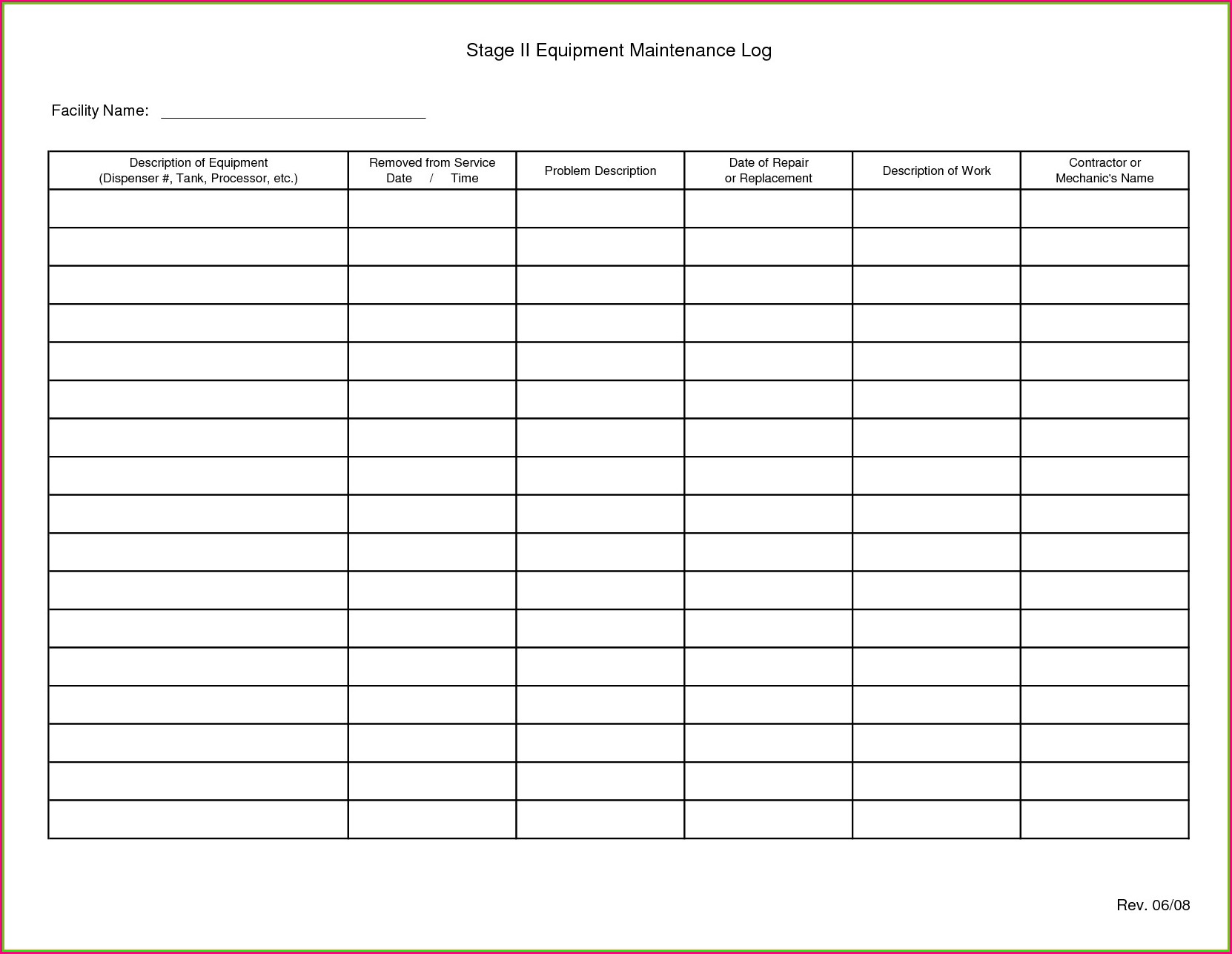 Fleet Preventive Maintenance Schedule Template Excel