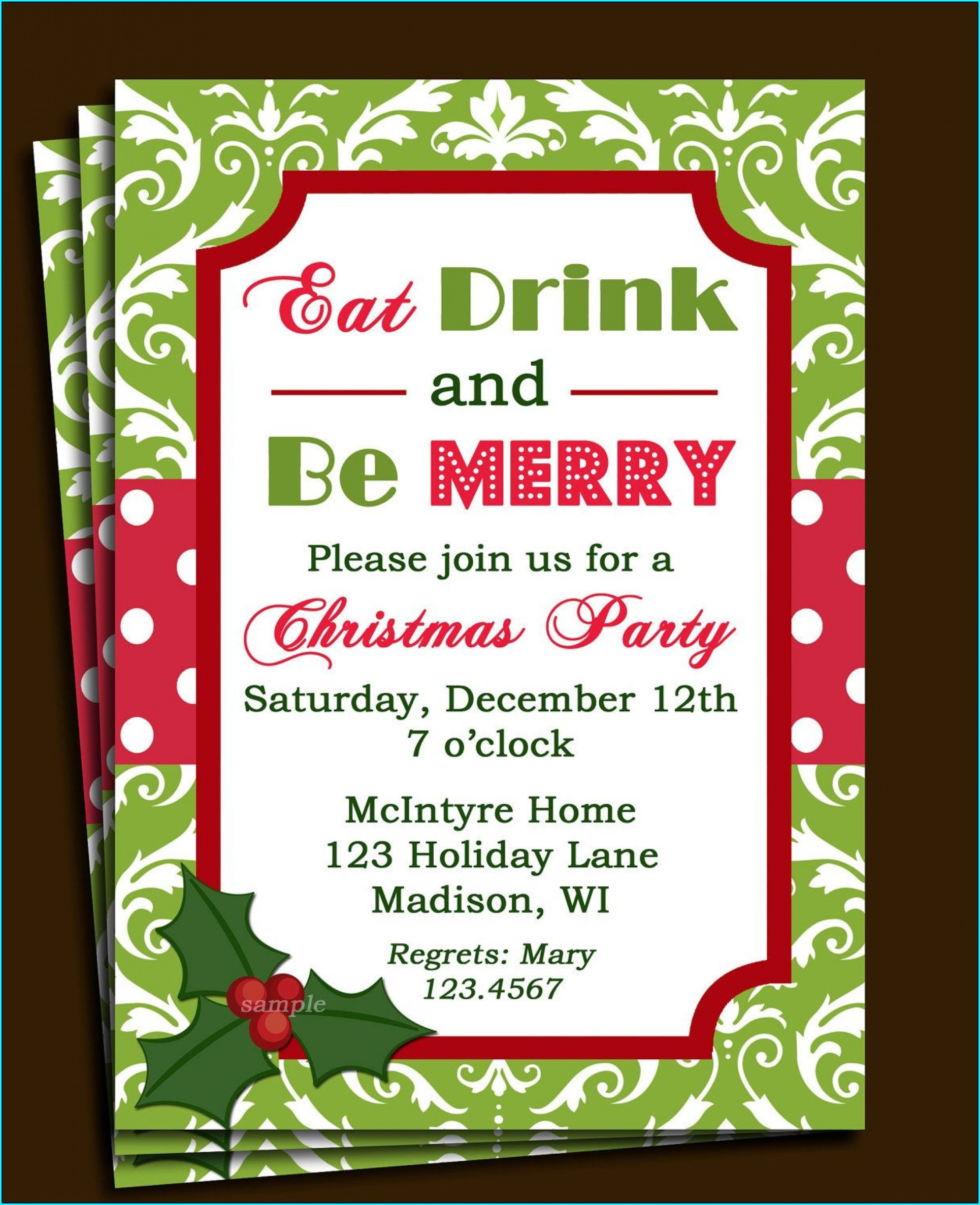 Flyer Free Holiday Party Invitation Templates Word