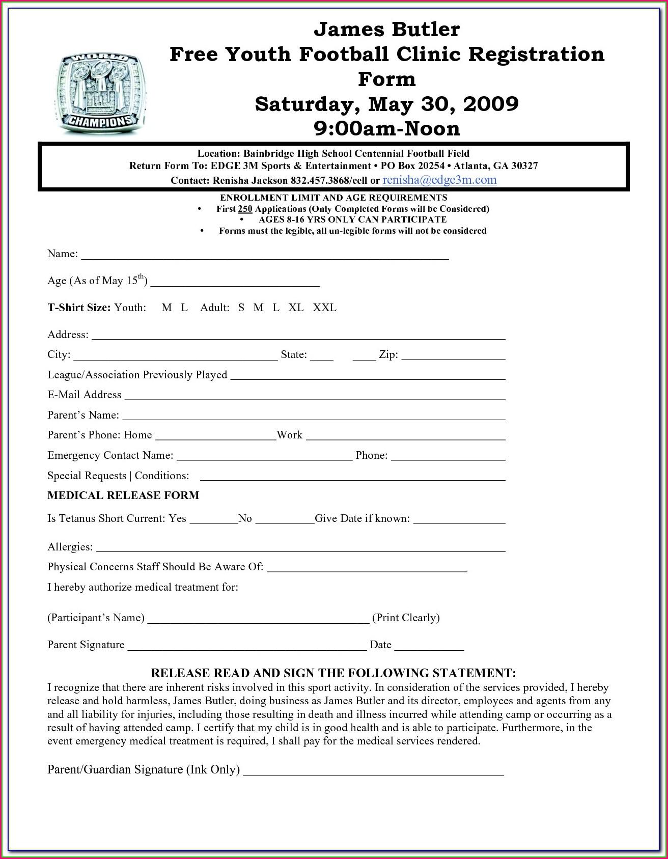 Football Registration Form Template
