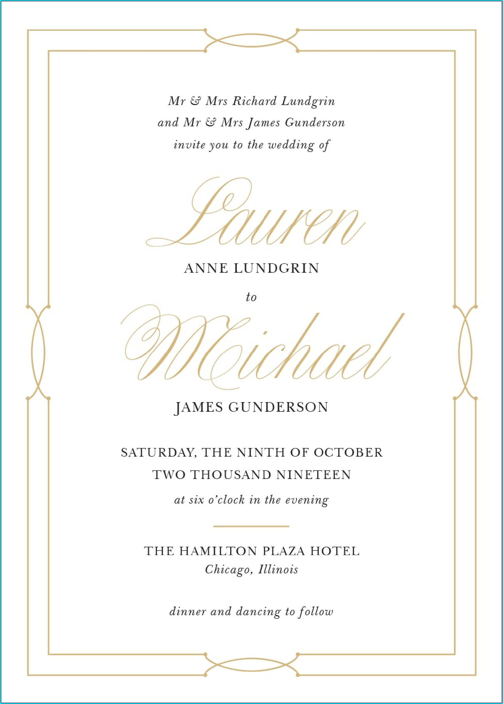 Formal Wedding Invitation Wording Templates