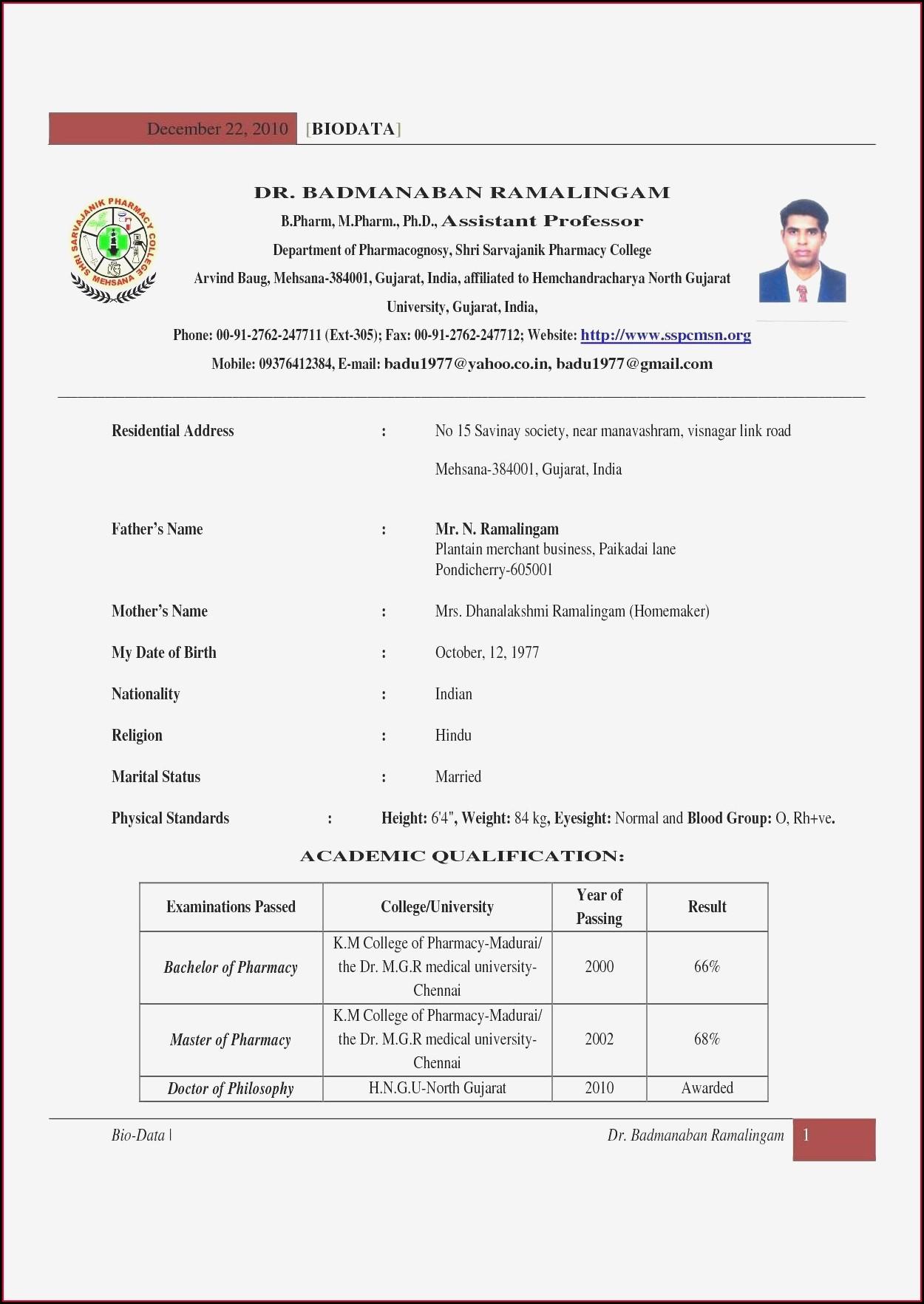 Format Sample Of Resume Pdf