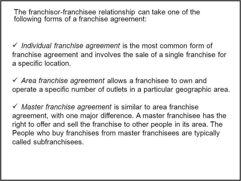 Franchise Agreement Template India