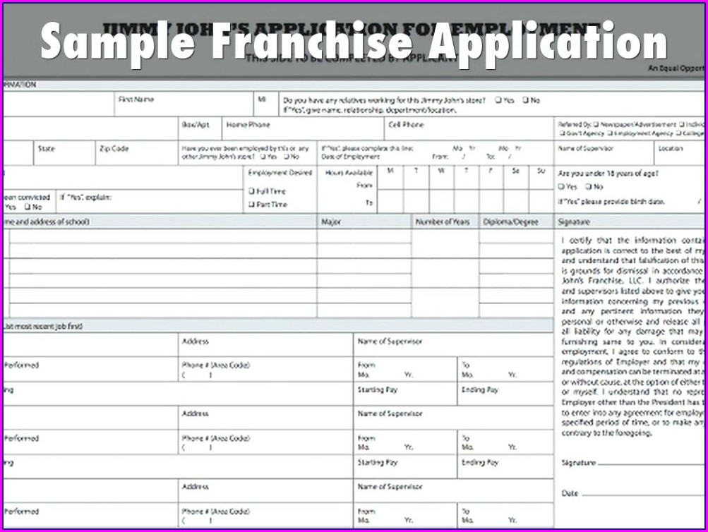 Franchise Application Form Template
