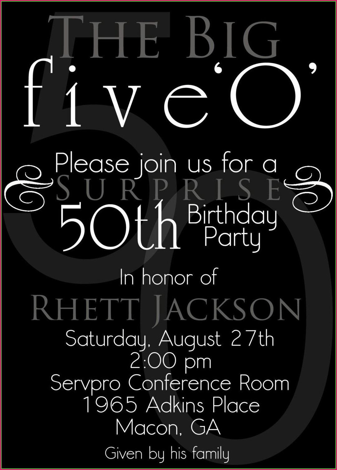Free 50th Birthday Invitation Templates Microsoft Word