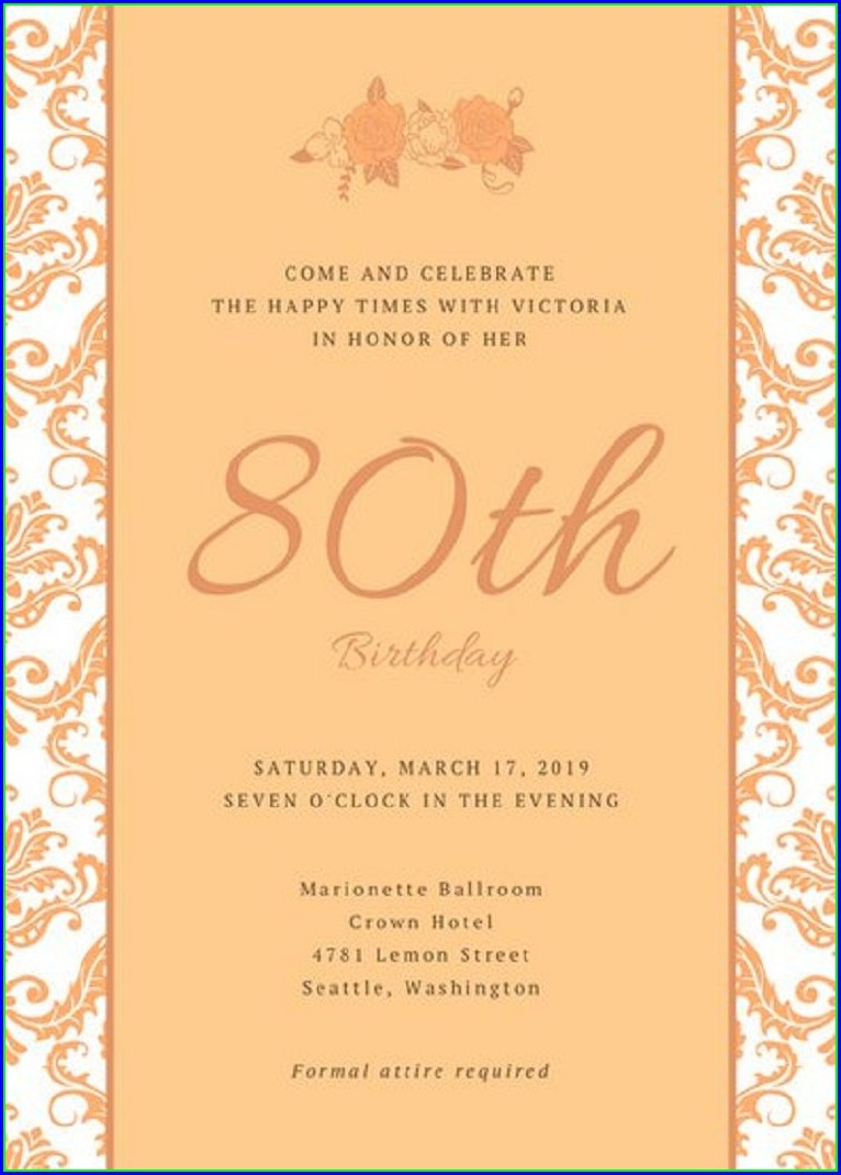 Free 80th Birthday Invitation Templates