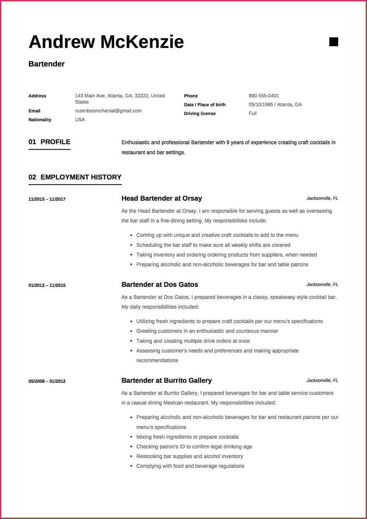 Free Bartender Resume Templates