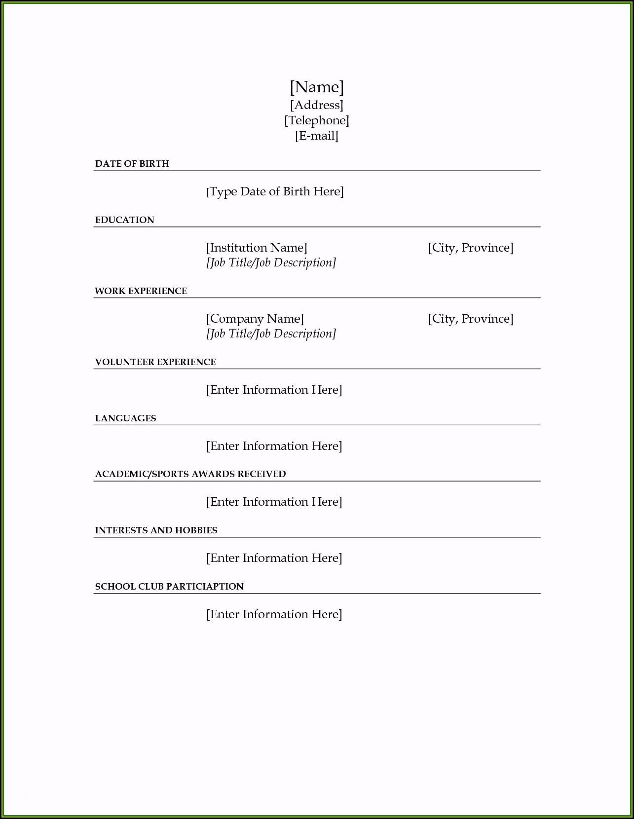Free Blank Fill In Resume Templates