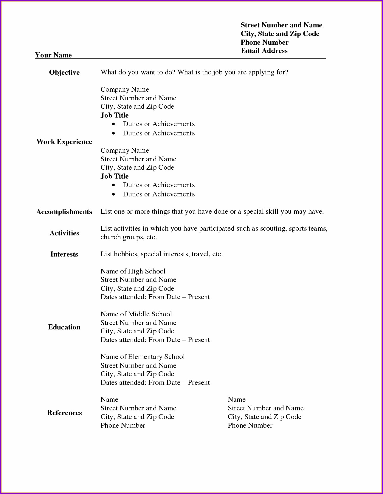 Free Blank Resume Form Printable