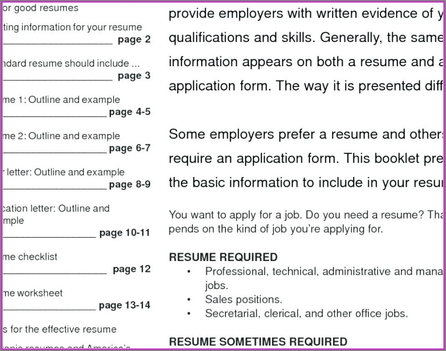 Free Blank Resumes To Print
